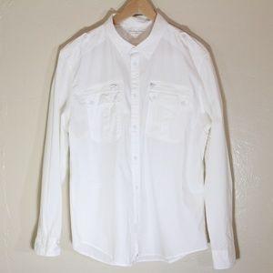 Calvin Klein Jeans white military style shirt EUC